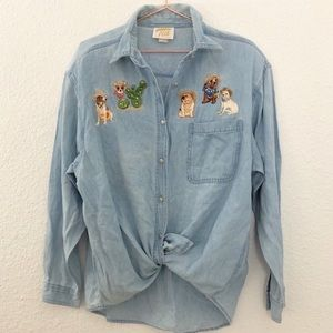 ⚡️5 for 25⚡️ Vintage Chihuahua Dog Embroidered Top